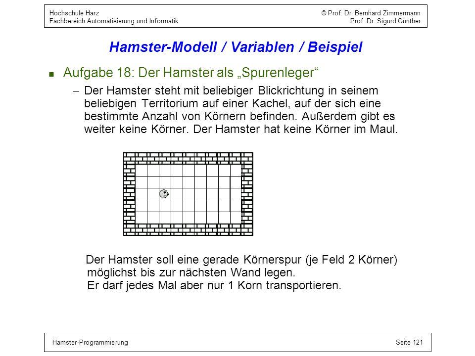 Hamster-ProgrammierungSeite 121 Hochschule Harz © Prof. Dr. Bernhard Zimmermann Fachbereich Automatisierung und Informatik Prof. Dr. Sigurd Günther Ha