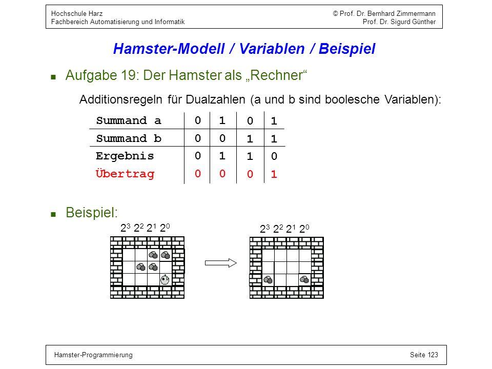 Hamster-ProgrammierungSeite 123 Hochschule Harz © Prof. Dr. Bernhard Zimmermann Fachbereich Automatisierung und Informatik Prof. Dr. Sigurd Günther Ha