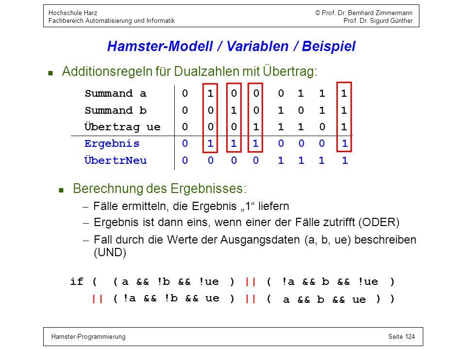 Hamster-ProgrammierungSeite 124 Hochschule Harz © Prof. Dr. Bernhard Zimmermann Fachbereich Automatisierung und Informatik Prof. Dr. Sigurd Günther Ha