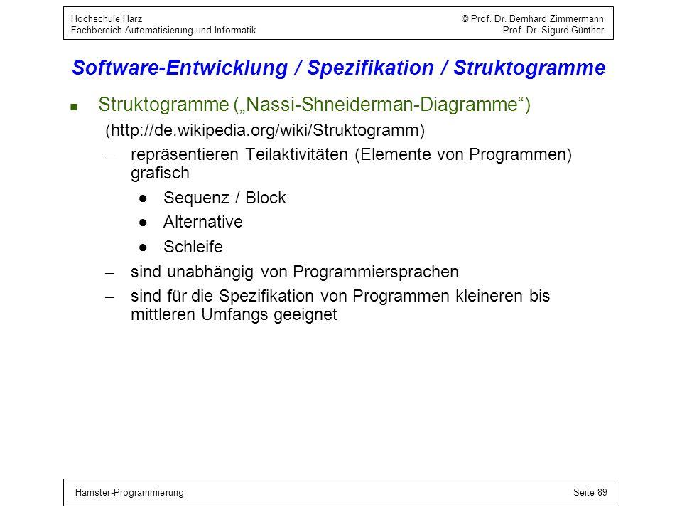 Hamster-ProgrammierungSeite 89 Hochschule Harz © Prof. Dr. Bernhard Zimmermann Fachbereich Automatisierung und Informatik Prof. Dr. Sigurd Günther Sof