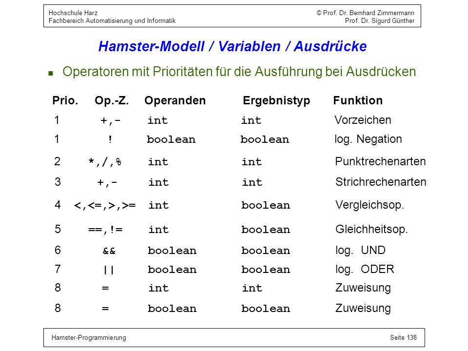 Hamster-ProgrammierungSeite 138 Hochschule Harz © Prof. Dr. Bernhard Zimmermann Fachbereich Automatisierung und Informatik Prof. Dr. Sigurd Günther Ha