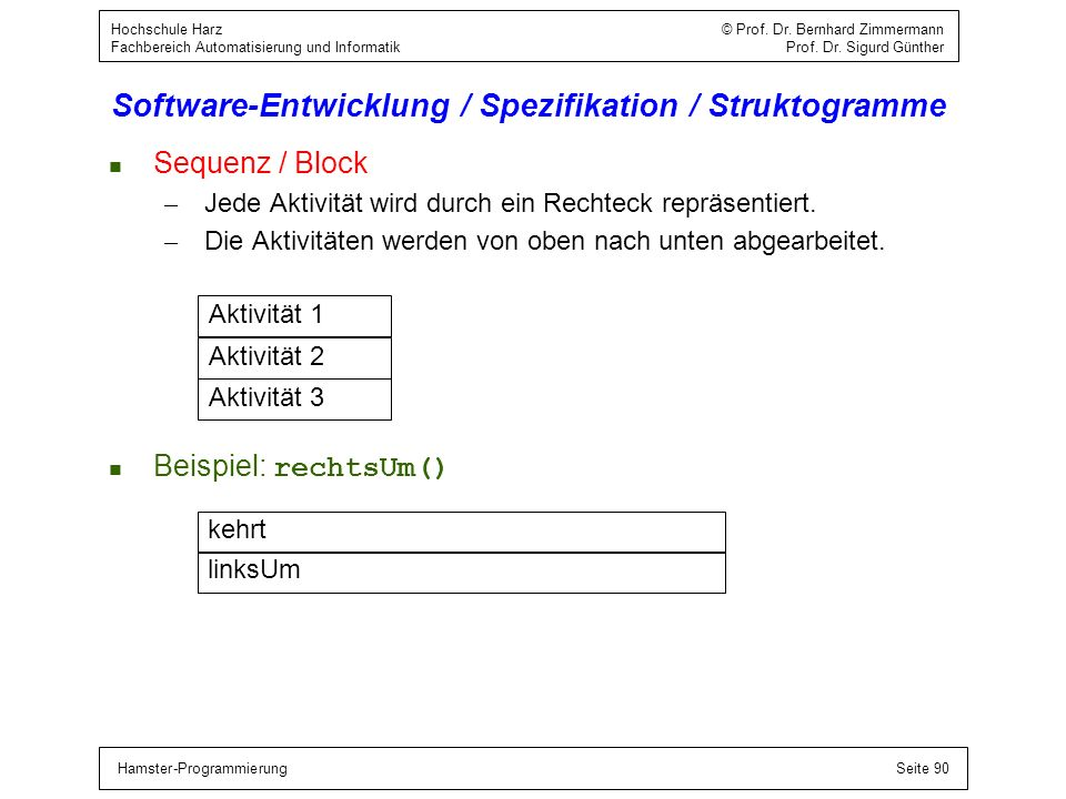 Hamster-ProgrammierungSeite 91 Hochschule Harz © Prof.