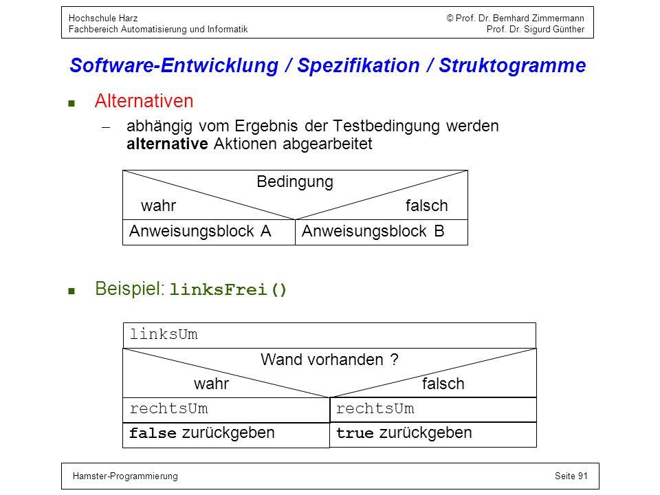 Hamster-ProgrammierungSeite 91 Hochschule Harz © Prof. Dr. Bernhard Zimmermann Fachbereich Automatisierung und Informatik Prof. Dr. Sigurd Günther Sof