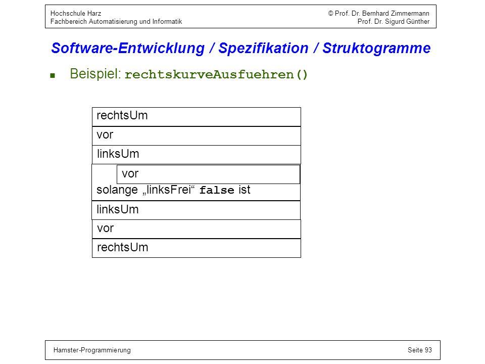 Hamster-ProgrammierungSeite 93 Hochschule Harz © Prof. Dr. Bernhard Zimmermann Fachbereich Automatisierung und Informatik Prof. Dr. Sigurd Günther Sof
