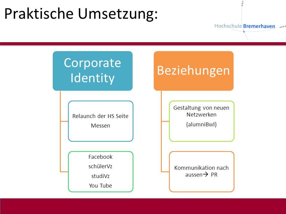 Praktische Umsetzung: Corporate Identity Relaunch der HS Seite Messen Facebook schülerVz studiVz You Tube Beziehungen Gestaltung von neuen Netzwerken