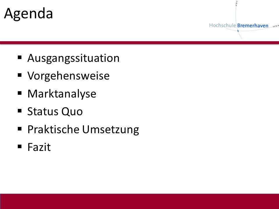 Agenda Ausgangssituation Vorgehensweise Marktanalyse Status Quo Praktische Umsetzung Fazit