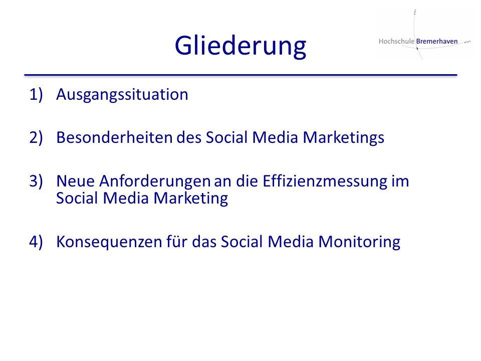 Gliederung 1)Ausgangssituation 2)Besonderheiten des Social Media Marketings 3)Neue Anforderungen an die Effizienzmessung im Social Media Marketing 4)K