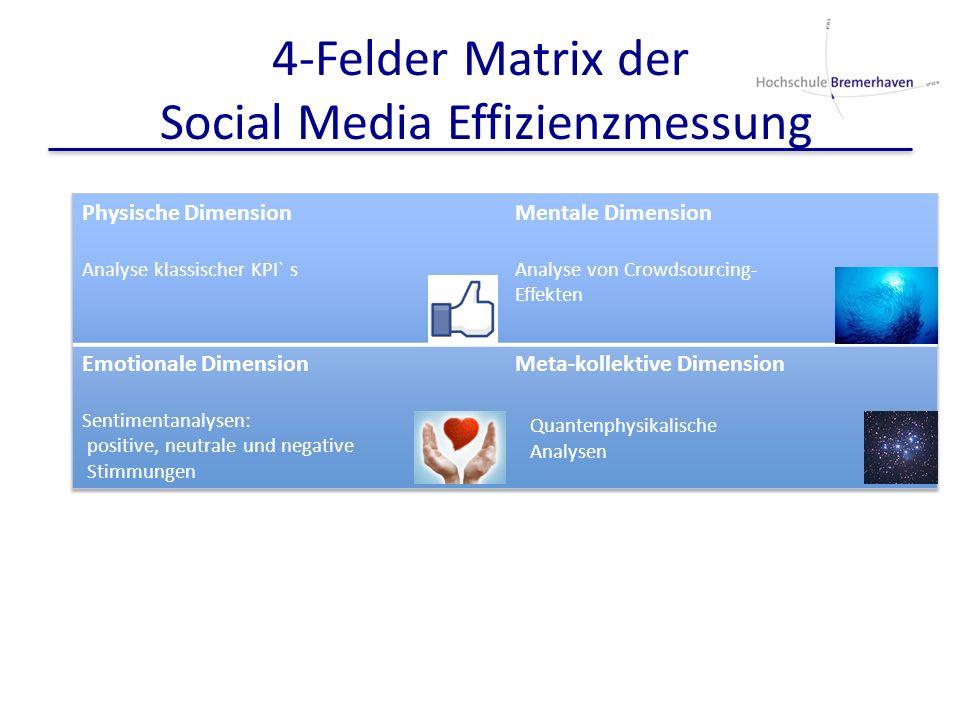 4-Felder Matrix der Social Media Effizienzmessung Quantenphysikalische Analysen