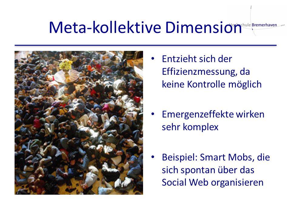 Meta-kollektive Dimension Entzieht sich der Effizienzmessung, da keine Kontrolle möglich Emergenzeffekte wirken sehr komplex Beispiel: Smart Mobs, die