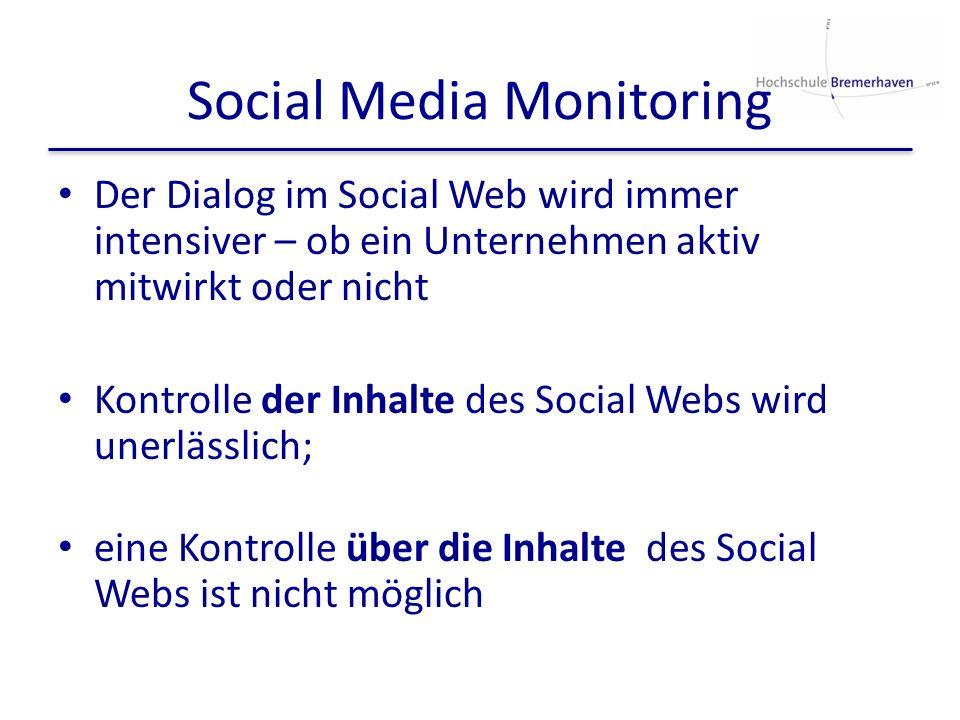 Social Media Monitoring Der Dialog im Social Web wird immer intensiver – ob ein Unternehmen aktiv mitwirkt oder nicht Kontrolle der Inhalte des Social