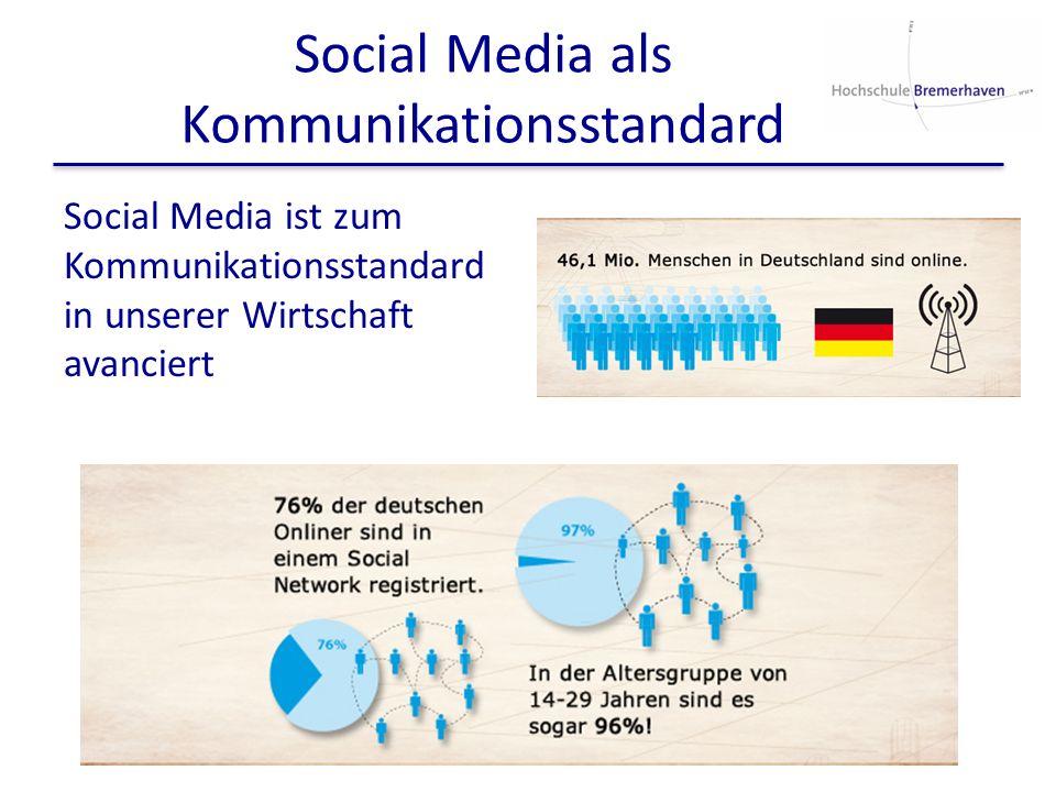 Social Media als Kommunikationsstandard Social Media ist zum Kommunikationsstandard in unserer Wirtschaft avanciert