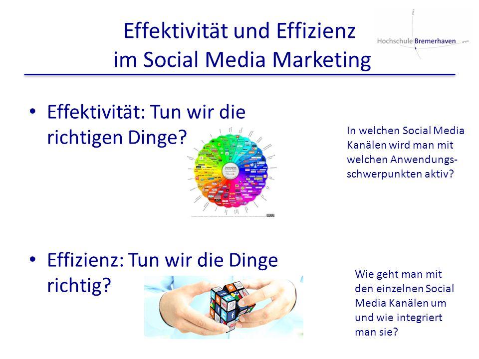 Effektivität und Effizienz im Social Media Marketing Effektivität: Tun wir die richtigen Dinge? Effizienz: Tun wir die Dinge richtig? In welchen Socia