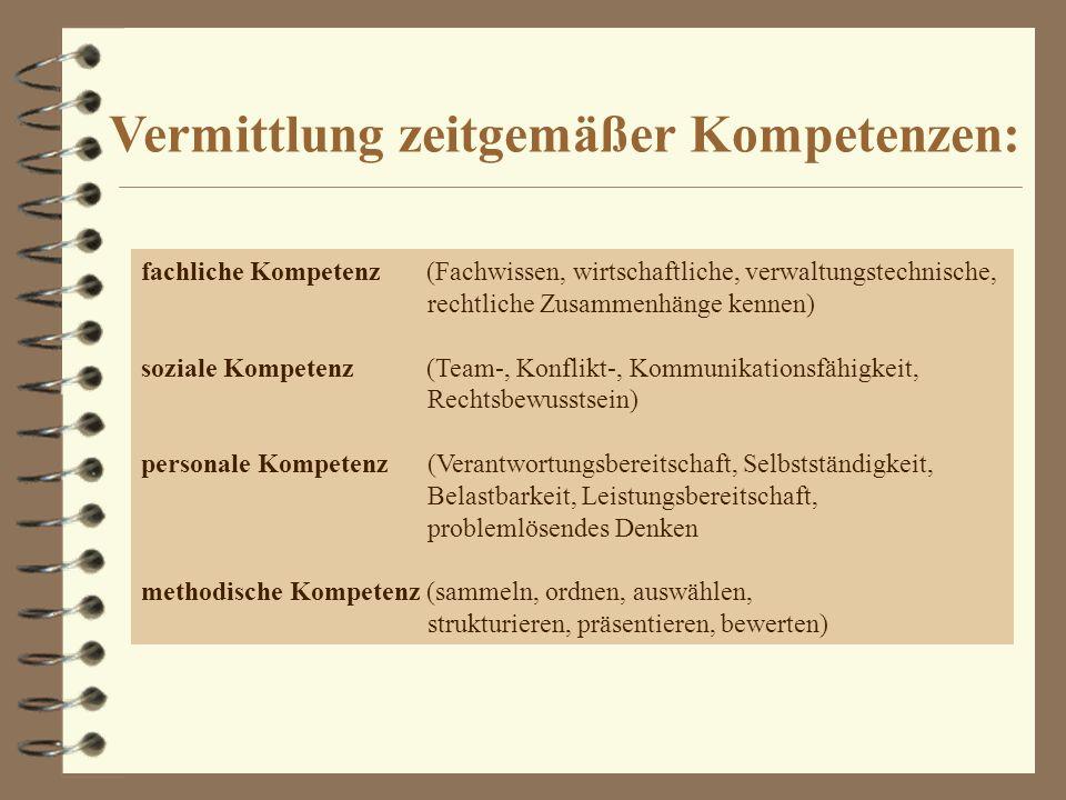 fachliche Kompetenz (Fachwissen, wirtschaftliche, verwaltungstechnische, rechtliche Zusammenhänge kennen) soziale Kompetenz (Team-, Konflikt-, Kommuni