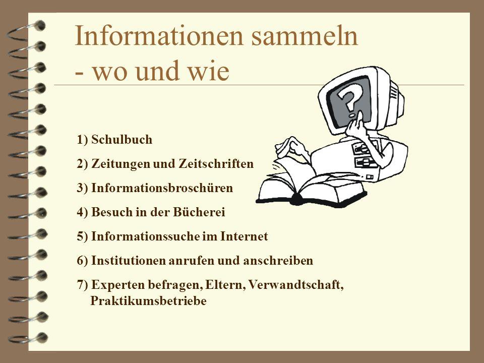 Informationen sammeln - wo und wie 1) Schulbuch 2) Zeitungen und Zeitschriften 3) Informationsbroschüren 4) Besuch in der Bücherei 5) Informationssuch