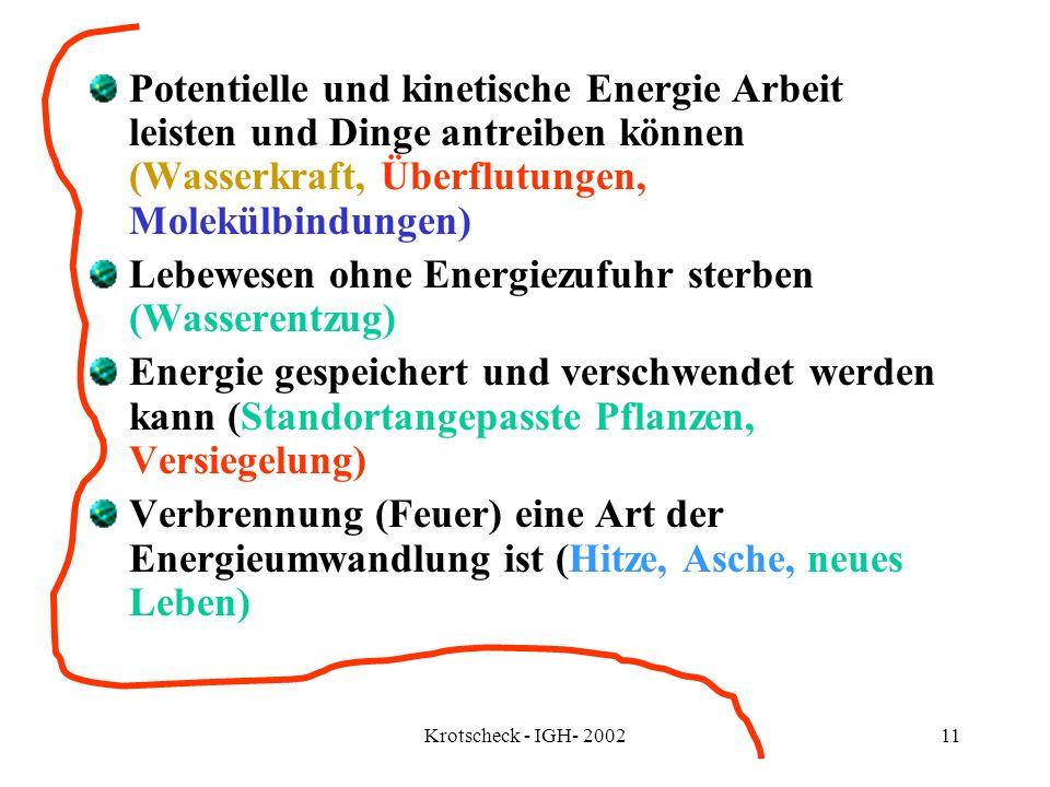 Krotscheck - IGH- 200211 Potentielle und kinetische Energie Arbeit leisten und Dinge antreiben können (Wasserkraft, Überflutungen, Molekülbindungen) L