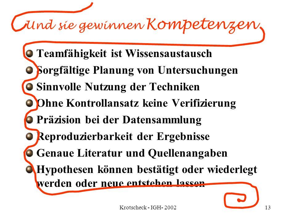 Krotscheck - IGH- 200213 Und sie gewinnen Kompetenzen Teamfähigkeit ist Wissensaustausch Sorgfältige Planung von Untersuchungen Sinnvolle Nutzung der