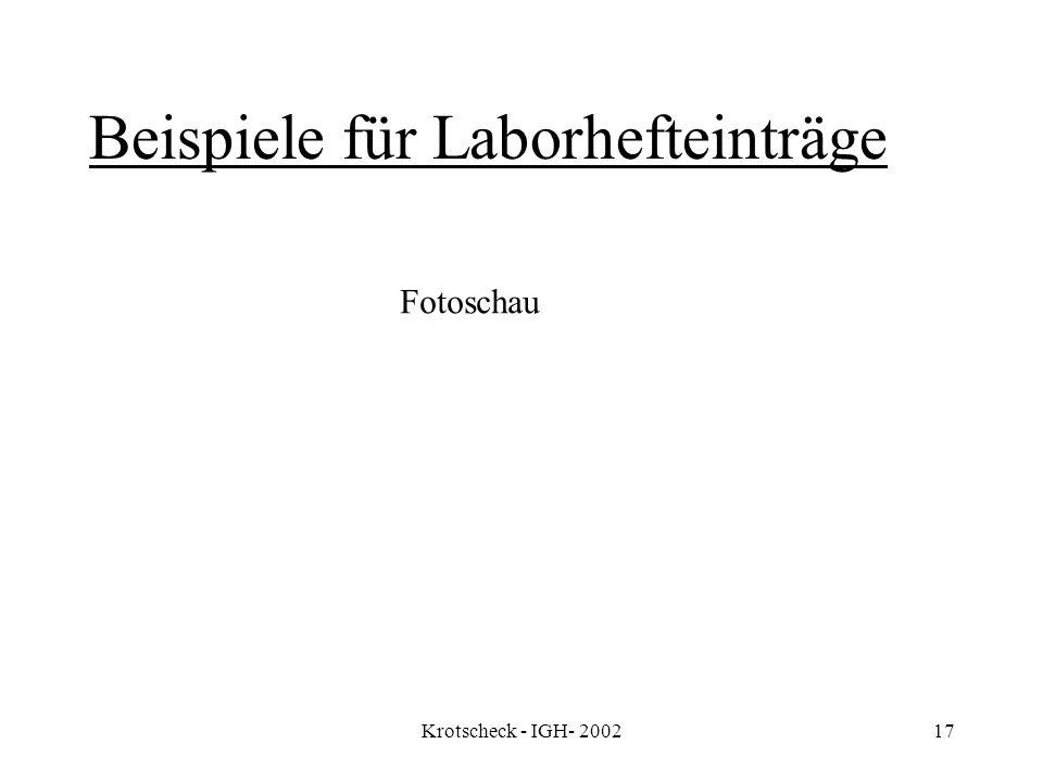 Krotscheck - IGH- 200217 Beispiele für Laborhefteinträge Fotoschau