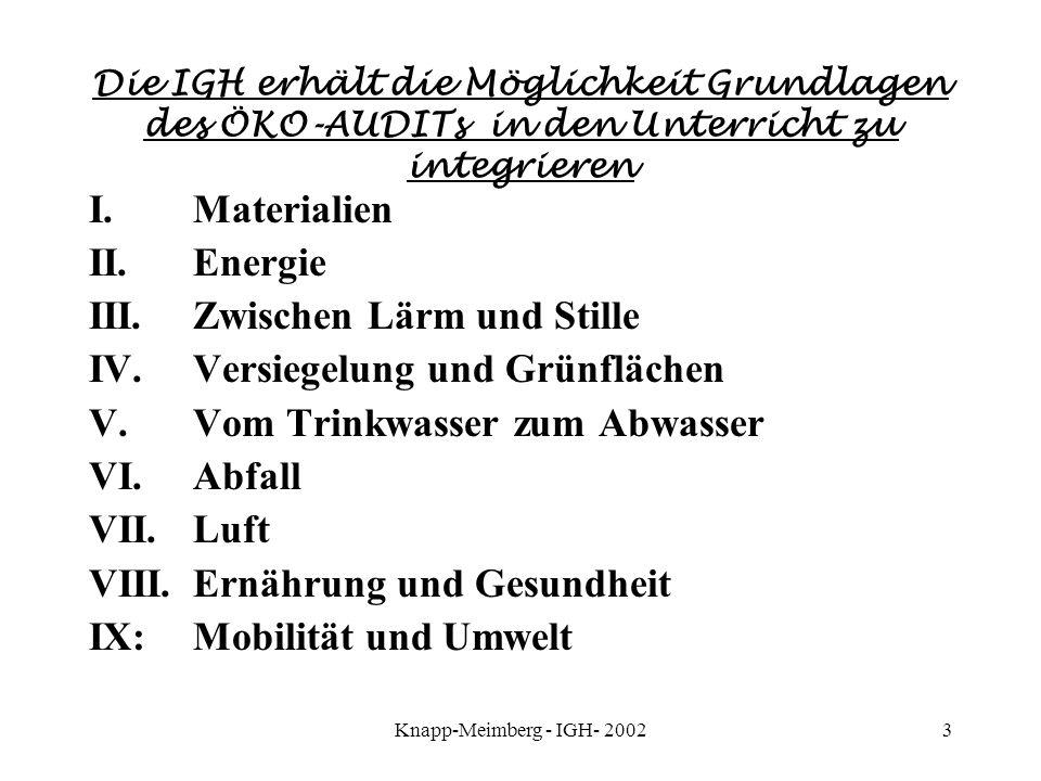 Knapp-Meimberg - IGH- 20023 Die IGH erhält die Möglichkeit Grundlagen des ÖKO-AUDITs in den Unterricht zu integrieren I. Materialien II. Energie III.