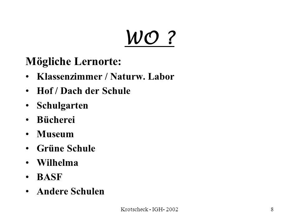 Krotscheck - IGH- 20028 WO ? Mögliche Lernorte: Klassenzimmer / Naturw. Labor Hof / Dach der Schule Schulgarten Bücherei Museum Grüne Schule Wilhelma