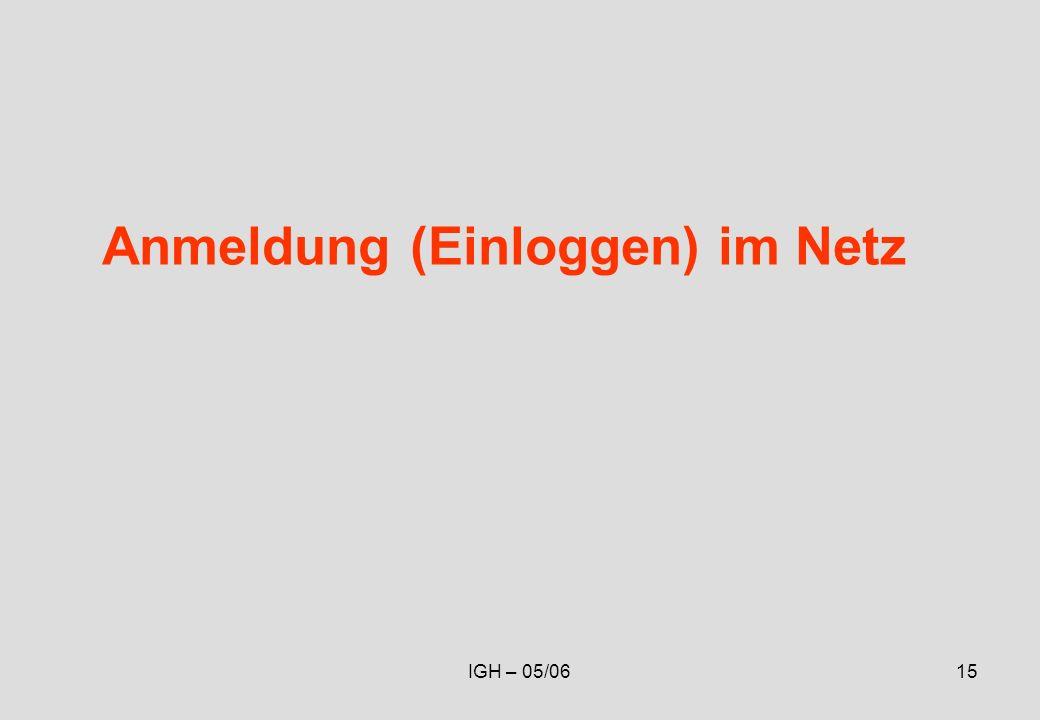 IGH – 05/0615 Anmeldung (Einloggen) im Netz
