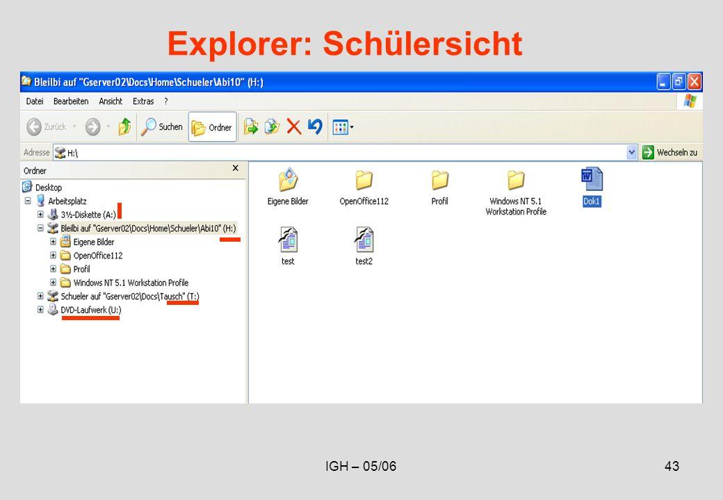 IGH – 05/0643 Explorer: Schülersicht