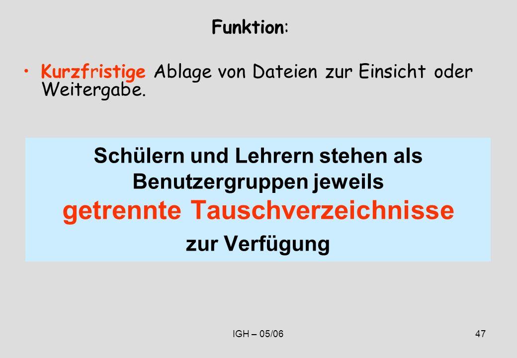 IGH – 05/0647 Schülern und Lehrern stehen als Benutzergruppen jeweils getrennte Tauschverzeichnisse zur Verfügung Funktion: Kurzfristige Ablage von Dateien zur Einsicht oder Weitergabe.