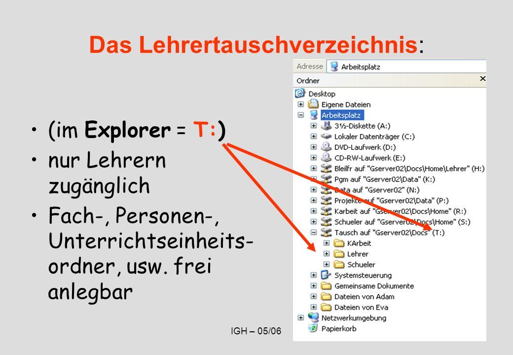 IGH – 05/0648 Das Lehrertauschverzeichnis: (im Explorer = T:) nur Lehrern zugänglich Fach-, Personen-, Unterrichtseinheits- ordner, usw.