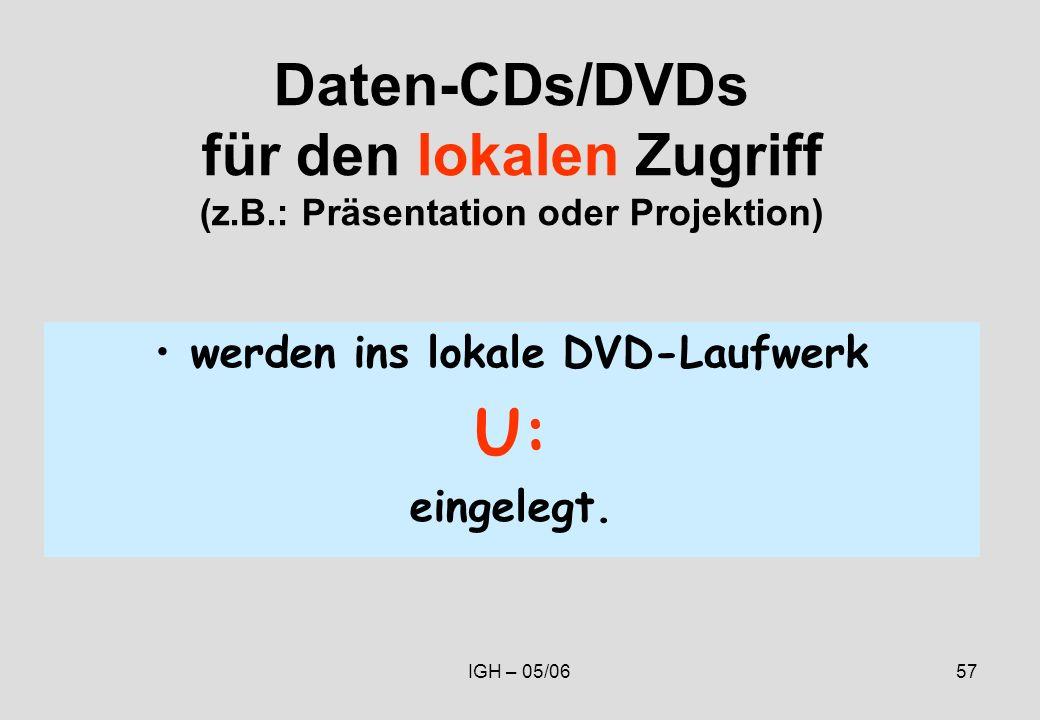 IGH – 05/0657 Daten-CDs/DVDs für den lokalen Zugriff (z.B.: Präsentation oder Projektion) werden ins lokale DVD-Laufwerk U: eingelegt.