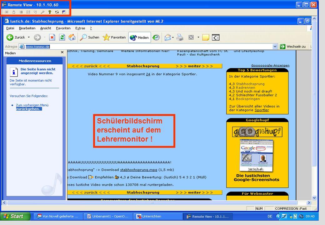 IGH – 05/0666 Schülerbildschirm erscheint auf dem Lehrermonitor !