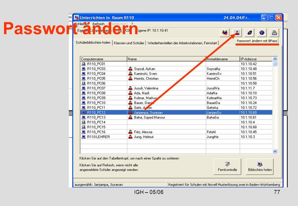 IGH – 05/0677 Passwort ändern
