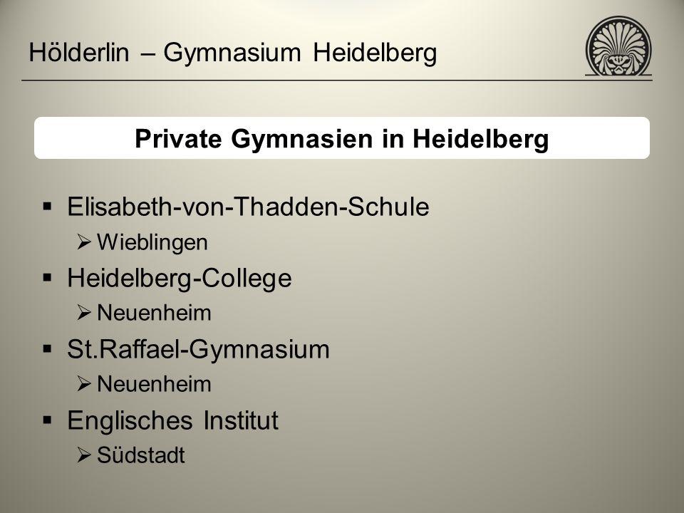 Hölderlin – Gymnasium Heidelberg Elisabeth-von-Thadden-Schule Wieblingen Heidelberg-College Neuenheim St.Raffael-Gymnasium Neuenheim Englisches Instit