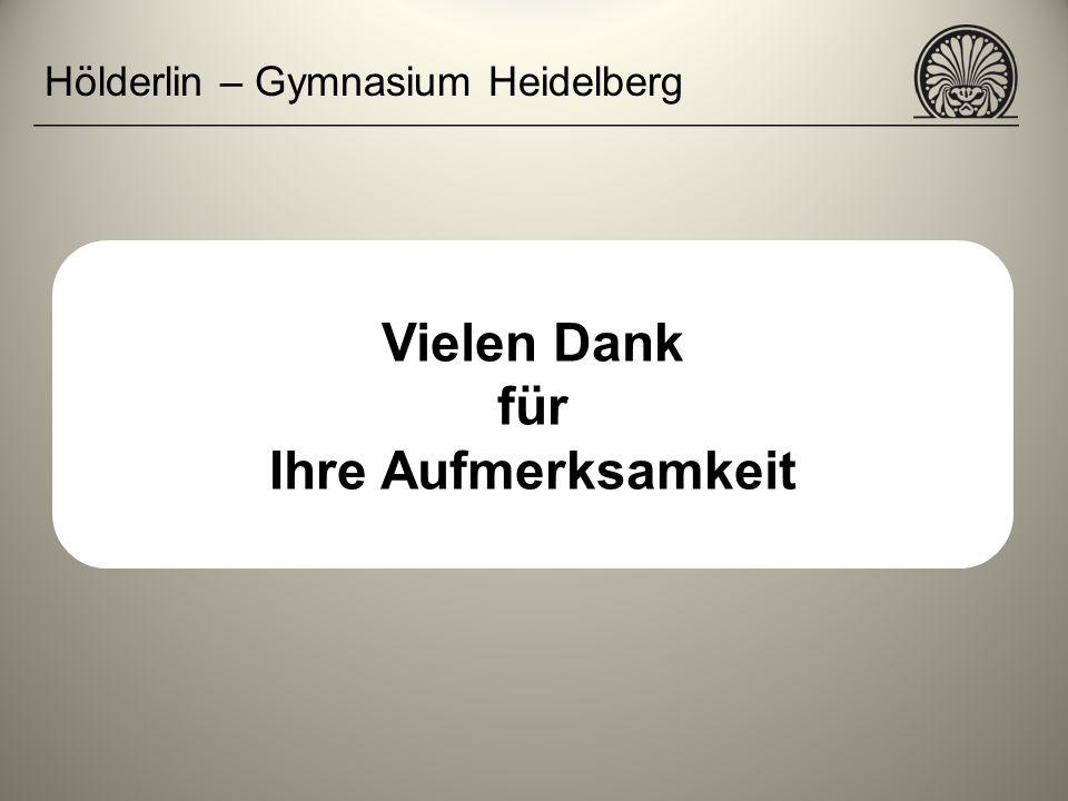 Hölderlin – Gymnasium Heidelberg Vielen Dank für Ihre Aufmerksamkeit