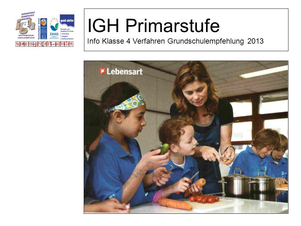 IGH Primarstufe Info Klasse 4 Verfahren Grundschulempfehlung 2013