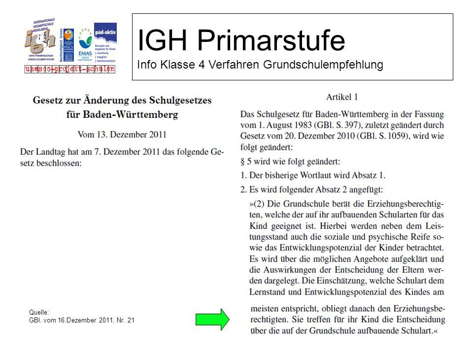 IGH Primarstufe Info Klasse 4 Verfahren Grundschulempfehlung Quelle: GBl. vom 16.Dezember 2011, Nr. 21
