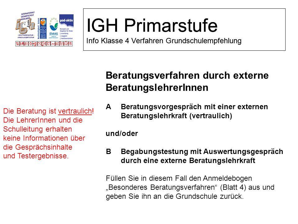 IGH Primarstufe Info Klasse 4 Verfahren Grundschulempfehlung Beratungsverfahren durch externe BeratungslehrerInnen ABeratungsvorgespräch mit einer ext