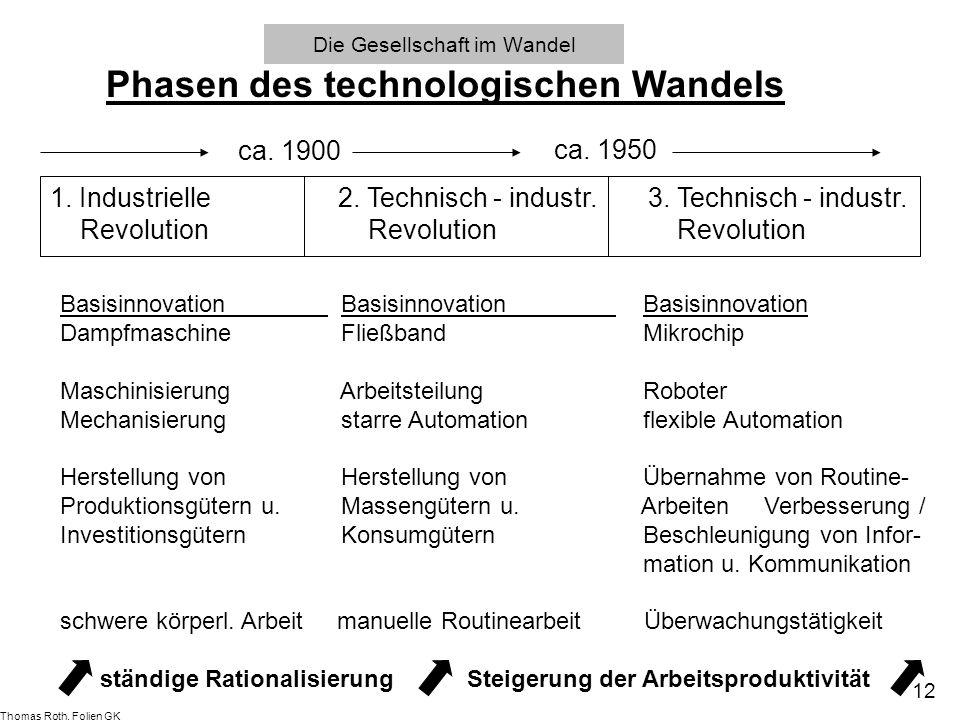 Die Gesellschaft im Wandel Phasen des technologischen Wandels 1. Industrielle2. Technisch - industr. 3. Technisch - industr. Revolution Revolution Rev