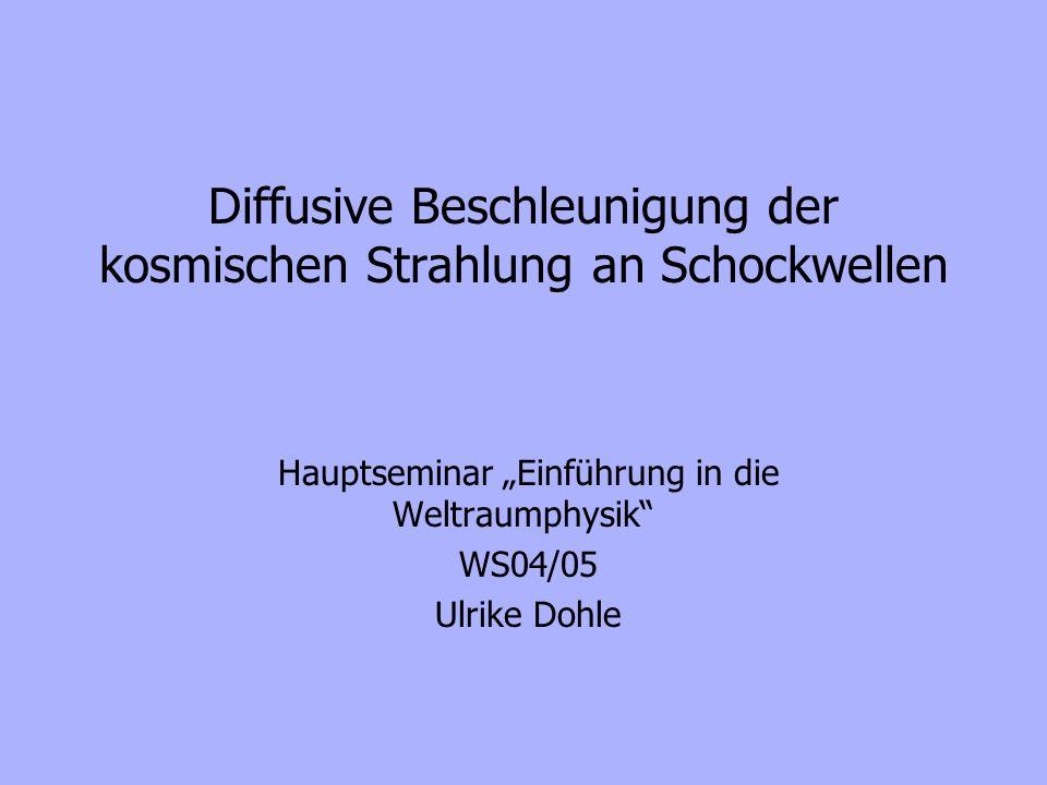 Diffusive Beschleunigung der kosmischen Strahlung an Schockwellen Hauptseminar Einführung in die Weltraumphysik WS04/05 Ulrike Dohle