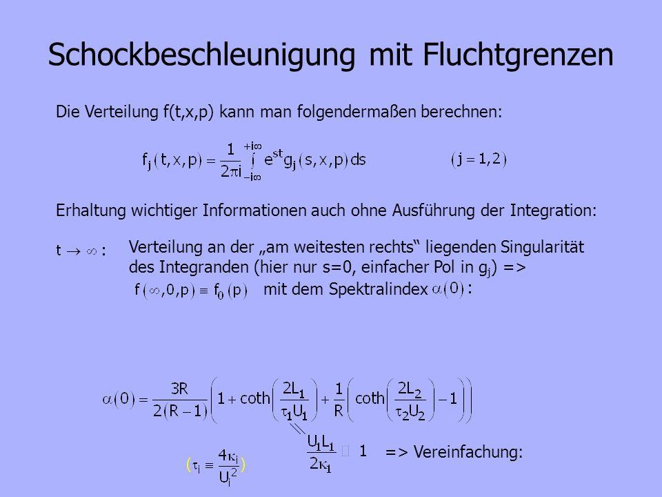 Die Verteilung f(t,x,p) kann man folgendermaßen berechnen: Erhaltung wichtiger Informationen auch ohne Ausführung der Integration: Verteilung an der a