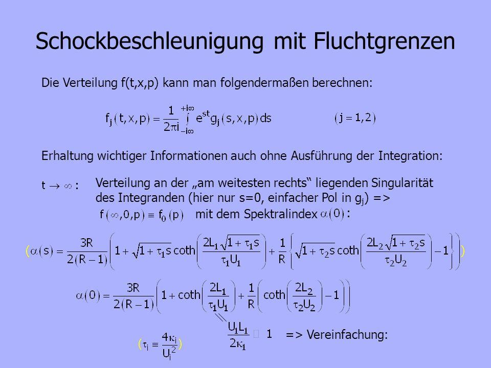Schockbeschleunigung mit Fluchtgrenzen Die Verteilung f(t,x,p) kann man folgendermaßen berechnen: Erhaltung wichtiger Informationen auch ohne Ausführu