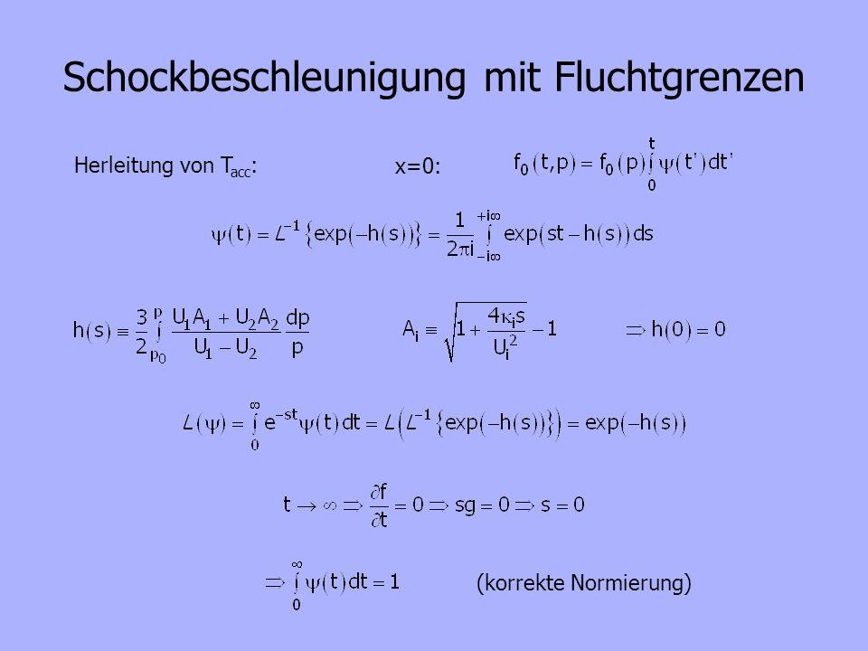 Schockbeschleunigung mit Fluchtgrenzen x=0: Herleitung von T acc : (korrekte Normierung)