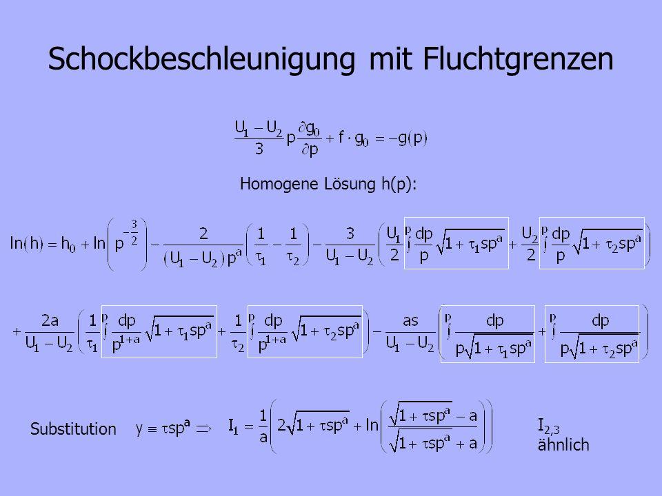 Schockbeschleunigung mit Fluchtgrenzen Homogene Lösung h(p): Substitution I 2,3 ähnlich