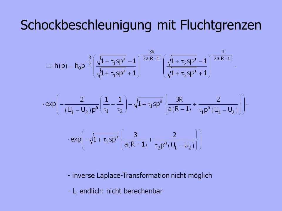 Schockbeschleunigung mit Fluchtgrenzen - inverse Laplace-Transformation nicht möglich - L i endlich: nicht berechenbar