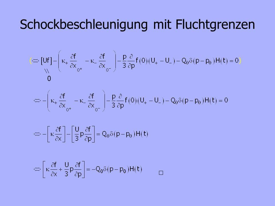 Schockbeschleunigung mit Fluchtgrenzen DGL: Ansatz für die homogene Lösung: Variation der Konstanten: