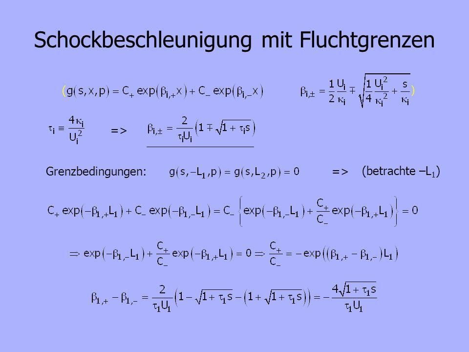 Schockbeschleunigung mit Fluchtgrenzen => Grenzbedingungen:=> (betrachte –L 1 )