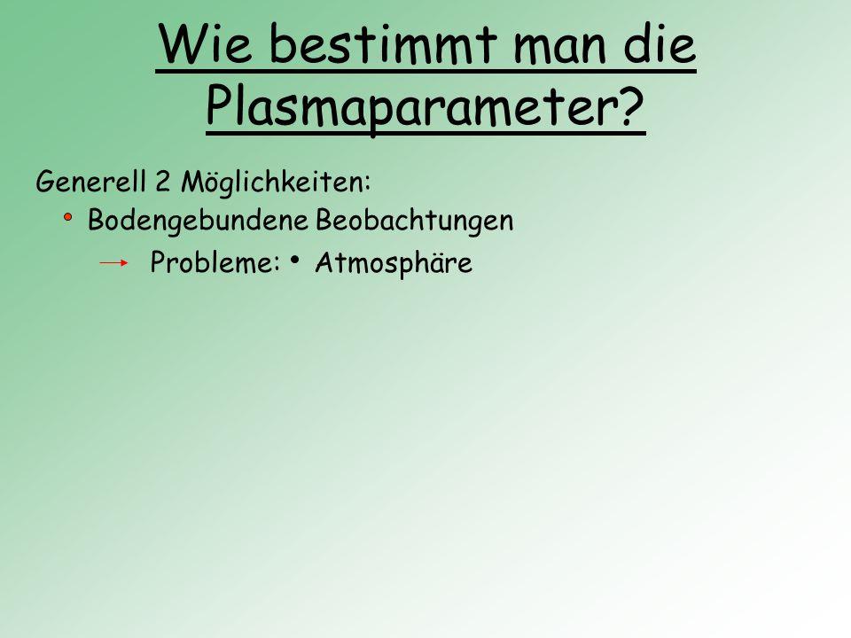 Wie bestimmt man die Plasmaparameter? Generell 2 Möglichkeiten: Bodengebundene Beobachtungen Probleme:Atmosphäre