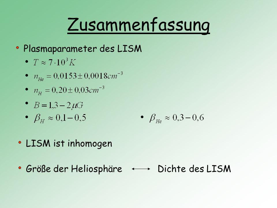 Plasmaparameter des LISM Dichte des LISMGröße der Heliosphäre LISM ist inhomogen