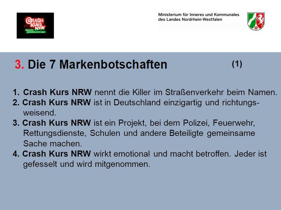 1.Crash Kurs NRW nennt die Killer im Straßenverkehr beim Namen. 2. Crash Kurs NRW ist in Deutschland einzigartig und richtungs- weisend. 3. Crash Kurs