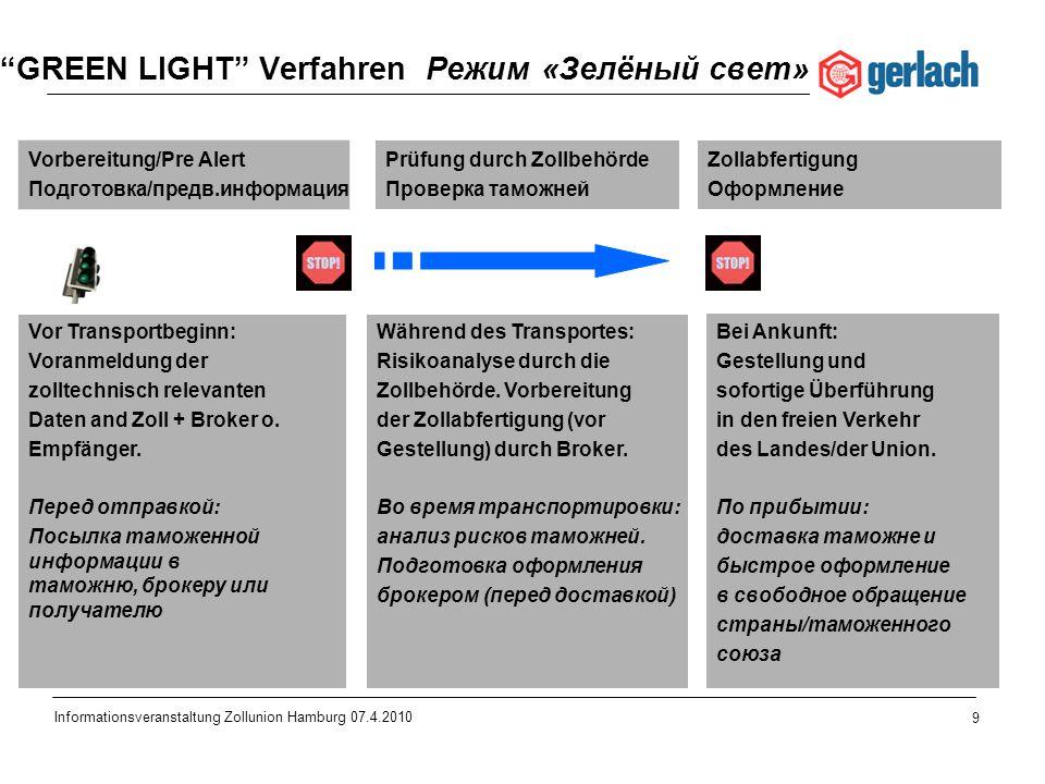9 Informationsveranstaltung Zollunion Hamburg 07.4.2010 GREEN LIGHT Verfahren Режим «Зелёный свет» Vorbereitung/Pre Alert Подготовка/предв.информация