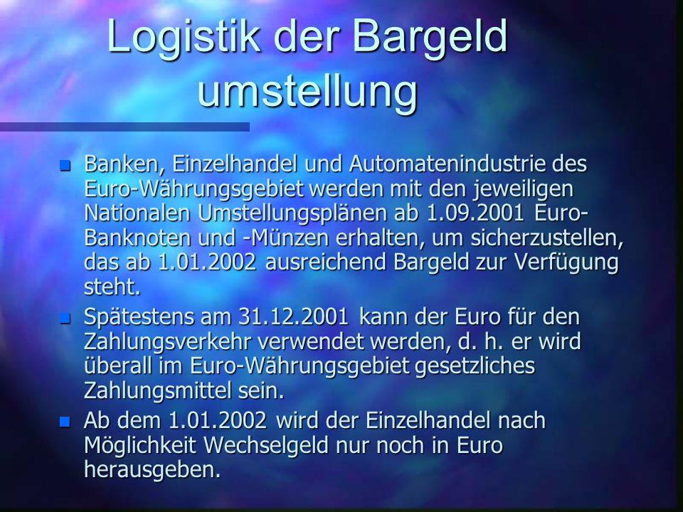 Informationen zu den Euro- Banknoten und -Münzen n Es gibt 7 Euro- Banknoten im Wert von 5, 10, 20, 50, 100, 200 und 500 Euro. Beide Seiten der Euro B