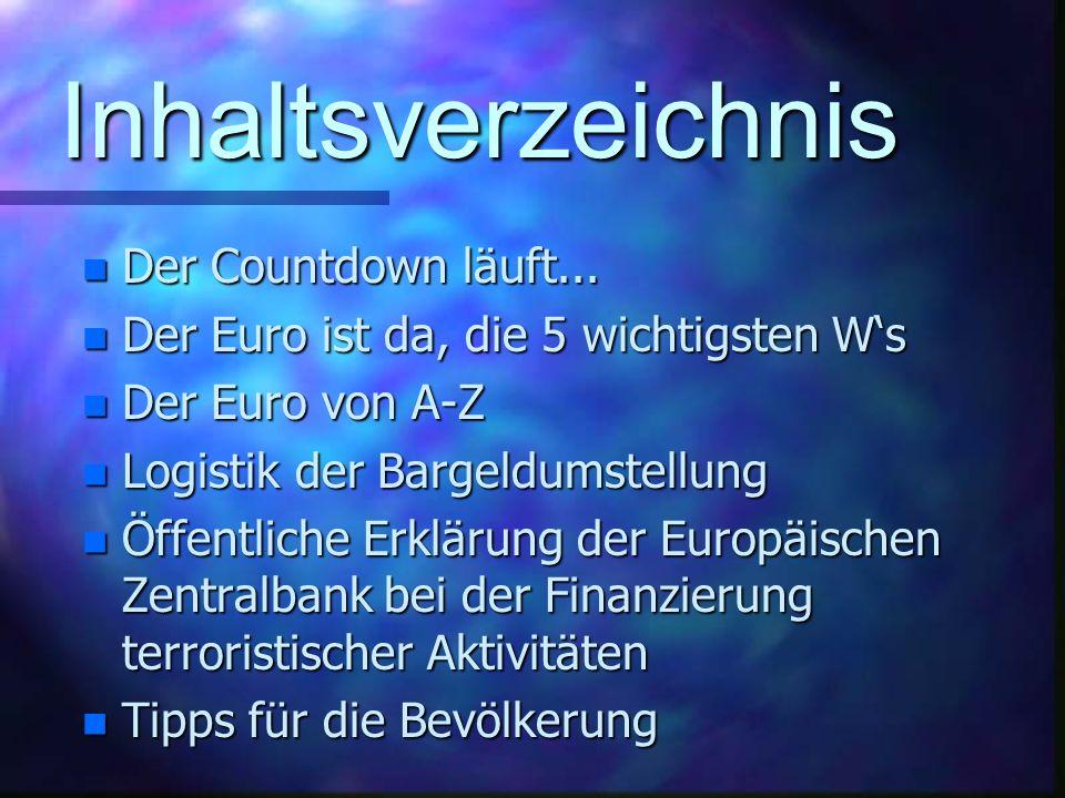 Inhaltsverzeichnis n Der Countdown läuft...